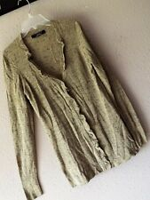 ELIE TAHARI XS METALLIC CARDIGAN Sweater Taupe Gold Button Front Black NORDSTROM