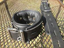 3 pc set -Locking padded leather wrist cuffs with collar w/large ring- restraint
