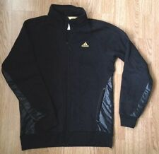 RETRO RARE ADIDAS BLACK GOLD SPORTS GRUNGE TRACKSUIT TOP JACKET UK S