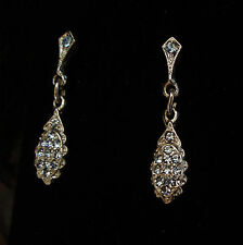 Vintage Light Blue Sapphire Crystal  Drop Pierced Earrings
