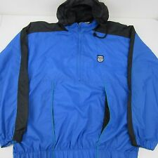 K-Swiss Blue Black Running Nylon Zip Up Windbreaker Jacket Hood Lined Mens Sz XL