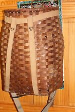 Antique Large Ovoid Splint Woven Basket Rear Carved Wood Handle Backpack Straps