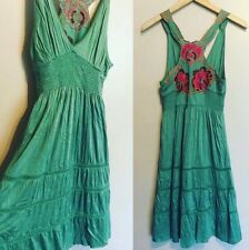 Free People Green Women's Embroidered Back Empire Waist Dress Boho Beach Summer