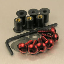 SCREEN BOLT KIT YAMAHA YZF R125 '08-'12 6 BOLT RED ALUMINIUM