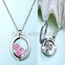 Floating Charm Living Memory Glass Round Locket Charms Necklace Pendant