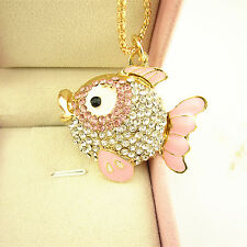 New Arrived Gold Plated Pink Crystal Cute Fish Pendant Chain Sweater Necklace