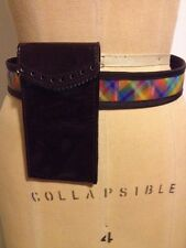 Prada Miu Miu Burgundy Multi colored rainbow leather belt smart phone holder