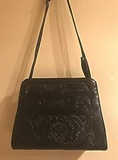 Black Leather Tooled Shoulder Bag ! Made In Mexico !