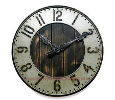 Large Wall Clock Industrial Rustic Punched Metal Wood Old Fashion Farmhouse Home