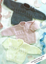 BABY SWEATER & CARDIGAN     PREMATURE DOLL KNITTING PATTERN 14/22 INCH  (400)