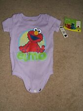 Baby Boy Girl 0-3 Months Elmo Face Sesame Street One Piece Purple Romper - NWT