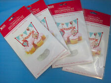Valentine's Day Decoration Kit Cakes Cupcakes Banner & 2 Picks Lot of 4 Packs