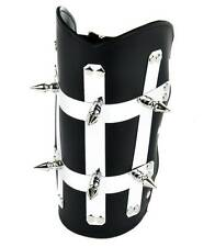 Heavy Metal Strip Spike Leather Wristband Armband Gauntlet Goth Punk Psychobilly