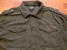 Vans Sweatshirt Jacket Snap Front 6 Pocket Army Olive Green Men's XL Used