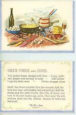 VINTAGE SWISS CHEESE HAM MUSHROOMS WINE FONDUE COOKING CHIVES RECIPE CARD PRINT