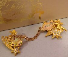 KIRKS FOLLY Pin Brooch Teapot With Enamel Cherub Fairy Stars Crystals 1K