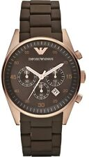 EMPORIO ARMANI AR5890 Mens Rose Gold Brown Rubber Chronograph Watch RRP$395 SALE