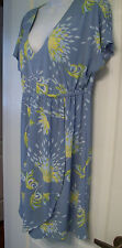 Tori Richard Honolulu Blue Floral Dress MED V-Neck Beach Party Cruise Wrap Dress
