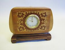 Antique Italian Inlaid Art Deco Clock w/ Hidden Cigarette Music Box  c. 1930