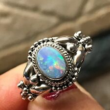 Genuine Australian Green & Pink Fire Opal 925 Sterling Silver Art Deco Ring 8