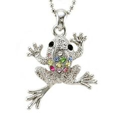 Frog Toad Animal Necklace Chain Multicolor Crystal Silver Tone Kid Charm Pendant