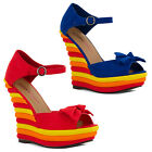 New Ladies Dolcis Wedge High Heel Ankle Strappy Platform Sandals Sizes UK 3-8