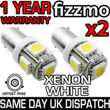 2x 5 SMD LED XENON WHITE SIDE LIGHT BULB 433 434 BAX9S H6W 360 OFFSET PINS CAP