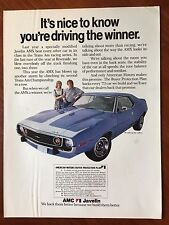 Vintage 1972 Original Print Ad Blue AMC JAVELIN AMX ~You're Driving a Winner~