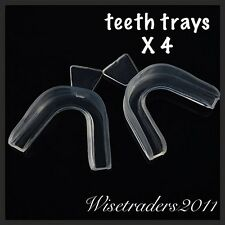4 Teeth Whitening Mouth Trays Thermo Tray Bleaching Gum Shield Anti Grinding Uk