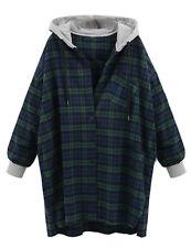 Women's Mid long Hooded Coat Long Sleeve Plaid Hoodie Outwear Oversized Jacket