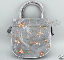 Gray Handmade Embroidered Flower Silk Satin Purse Jewelry Gift Handbag Bag