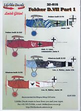 LIFELIKE DECALS FOKKER D.VII Pt.1 1/32 for WINGNUT WINGS *FREE POSTAGE WITH KIT*