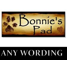 Personalised NAME DOG ACRYLIC Sign Plaque House Kennel Bed bowl feeding food