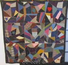 Antique PA Dated January 6, 1921 Applique Crazy MUMMERS Quilt Pennsylvania Heart