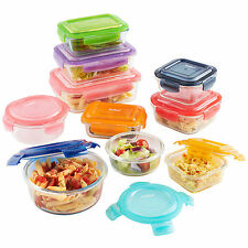 Vonshef 10pc multicolore verre conteneur de stockage tupperware food set & couvercles
