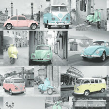 Volkswagen Retro Cars Wallpaper Grey and Pastel Colours Collage 102563