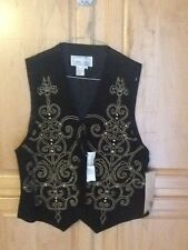 Vintage Suede Black Vest, Erez Levy Womens Suede 100% Leather
