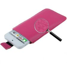 Funda nokia LUMIA 800 710 900 n8 CUERO ROSA PT5 FUCIA pull-up pouch leather case