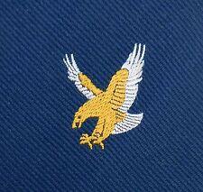 Cravatta vintage con GOLDEN Bird Eagle Falcon società Corporate EMBLEMA Navy Blue