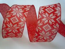 5yds White Snowflakes Red Burlap Wired Ribbon Christmas Holidays Bow Wreath Gift