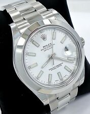 Rolex Datejust II 116300 41mm Smooth Bezel Stainless Steel White Dial *BRAND NEW