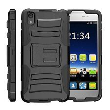 BLACK REFINED ARMOR COVER PHONE CASE & SWIVEL HOLSTER CLIP FOR BLACKBERRY DTEK50