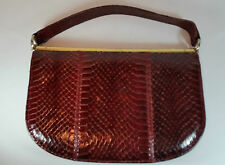 LADIES VINTAGE MAGLI ITALY DARK RED SNAKESKIN LEATHER HANDBAG BAG