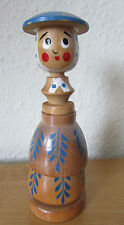 FAB RARE VINTAGE RETRO KITSCH NOVELTY WOODEN EGG CUP AND CRUET *LADY* SET