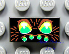 NEW Lego Spider Eye Pattern 1x2 Black Printed TILE - Yellow Green Head/Face