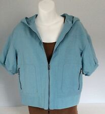 Womens Magaschoni Short Sleeve Blazer Jacket zip Front Hooded Sporty sz M/ L