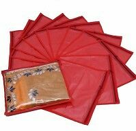 Combo of 12 Pcs Red Saree Garment Cloths Cover Storage Case_Nonwoven