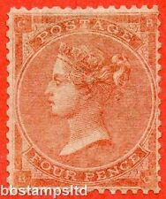 "SG. 80. J52 (2). "" BC "". 4d pale red. A very fine lightly mounted mint example."