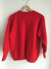 Gorgeous •Handmade• Red Wool knit Sweater Jumper Cardigan Size S M 8 10 12 EUC