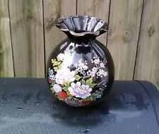 "VINTAGE BLACK ASIAN ORIENTAL FLORAL VASE  WITH GOLD TRIM  7"" TALL"